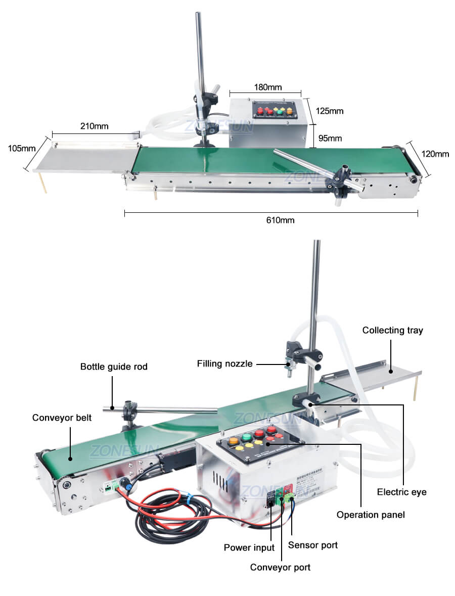 Dimension of ZS-DPYT1500 Small Bottle Filling Machine With Conveyor