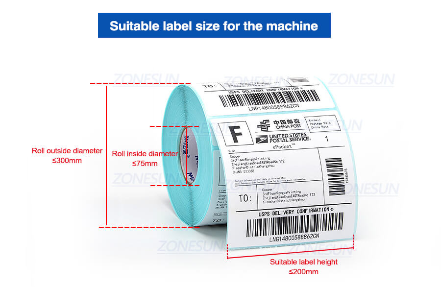 Suitable Label Size of ZS-TB260Z Automatic Round Bottle Labeling Machine