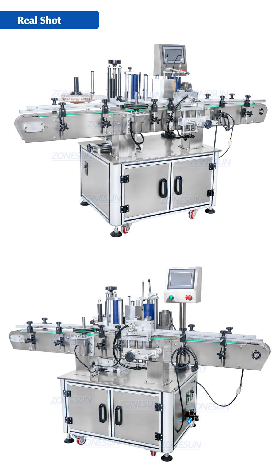 Real Shot of ZS-TB260Z Automatic Round Bottle Labeling Machine