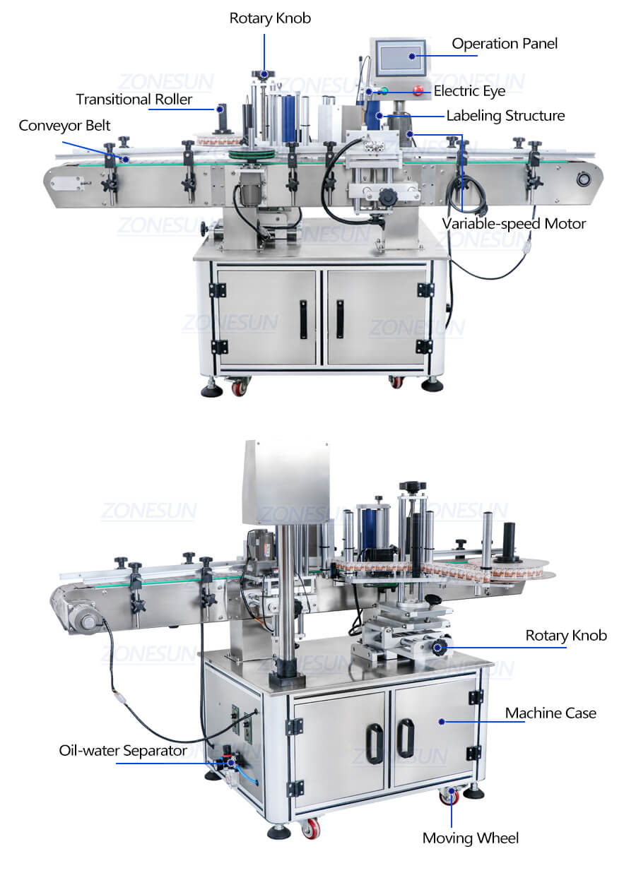 Dimension of ZS-TB260Z Automatic Round Bottle Labeling Machine