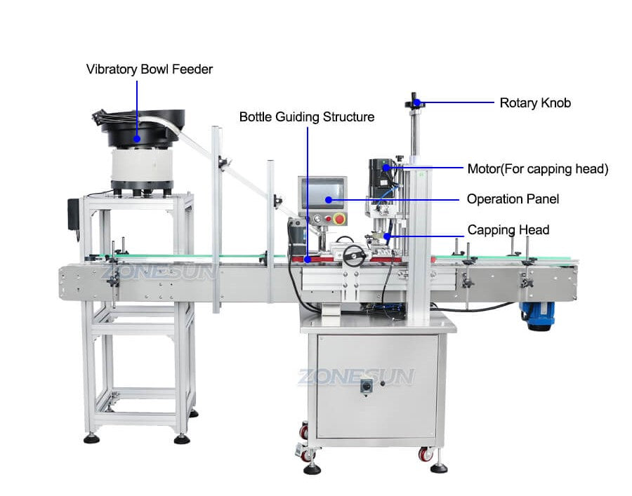 Dimension of ZS-XG16 Automatic Bottle Capping Machine With Cap Feeder
