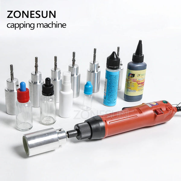 ZONESUN Optional Mix Up Capping Machine Portable Automatic Electric With Security Ring Bottle Capper Screwing Sealing Machine - ZONESUN TECHNOLOGY LIMITED