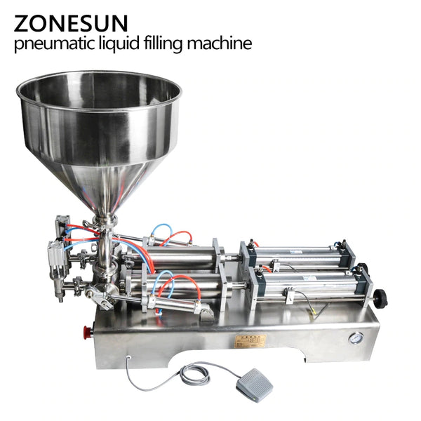 ZONESUN Double Heads Filling Machine Automatic Pneumatic Hopper Cream Shampoo Moisturizer Lotion Cosmetic Oil Honey Food Paste Filling Machine - ZONESUN TECHNOLOGY LIMITED
