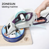 ZONESUN Semi-automatic Round Bottle Adhesive Sticker Manual Packing Labeling Machine Handheld Price Tag Labeller Flat Labeller - ZONESUN TECHNOLOGY LIMITED