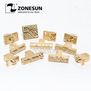 ZONESUN Customized leather copper Brass Stamp  invitation card paper brand iron Heat emboss Mold Printing DIY craft supply - ZONESUN TECHNOLOGY LIMITED