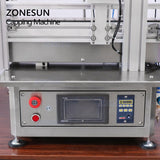 ZONESUN Desktop Automatic Glass Bottle Cap Cork Press Machine Jar Whisky Plastic Bottle Capping Machine With Cap Feeder