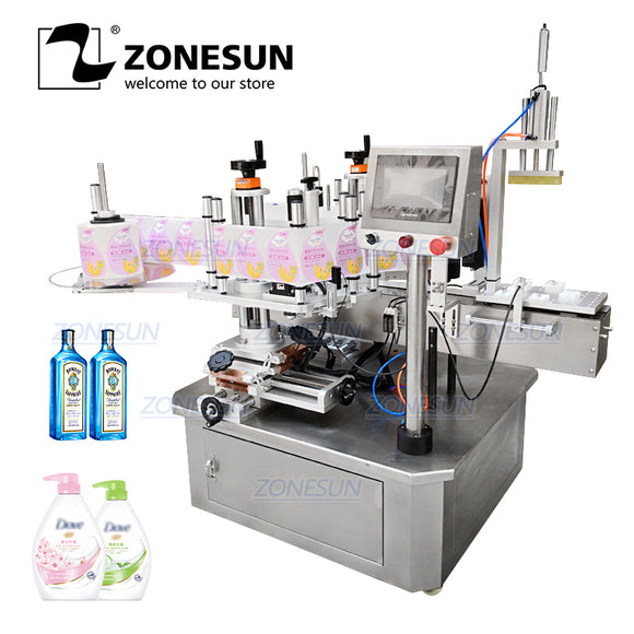 ZONESUN TB-210 Automatic Double Side Irregular Square Flat Plastic Bottle Labeling Machine - ZONESUN TECHNOLOGY LIMITED