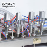 ZONESUN 4 Head Pneumatic Liquid Filling Machine For Hand Sanitizer Soap Alcohol - ZONESUN TECHNOLOGY LIMITED