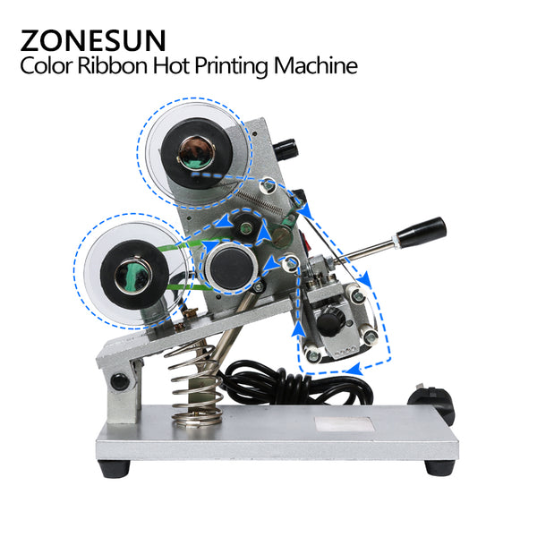 ZONESUN ZY-RM5 Color Ribbon Hot Printing Machine,Heat Ribbon Printer ,Film Bag Date Printer(220V/50Hz) - ZONESUN TECHNOLOGY LIMITED