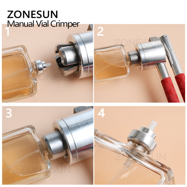 ZONESUN Stainless Steel Manual Vial Crimper Hand Sealing Machine For 13 15 18 20mm Perfume Bottle Medical Bottle Flip Off Caps Sealer - ZONESUN TECHNOLOGY LIMITED