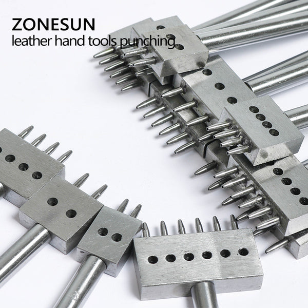 ZONESUN Leathercraft Cutting Tool Stainless Steel 4mm 5mm 6mm Hand Punch Tool For Leather Punching Screwing - ZONESUN TECHNOLOGY LIMITED