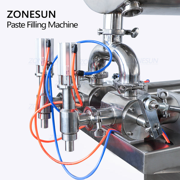 ZONESUN Semi-Automatic Paste Filling Machine For Bean Chili Sauce With Mixing Function - ZONESUN TECHNOLOGY LIMITED