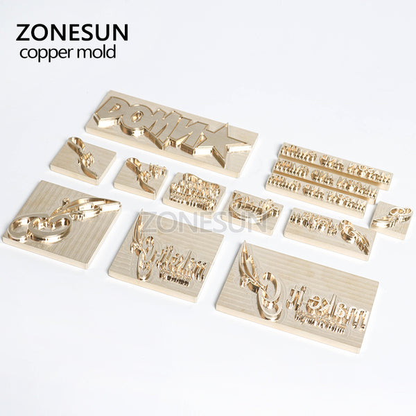 ZONESUN Customized Hot foil stamping brass plate customized debossing die cut, debossing mould size small than 8*5cm - ZONESUN TECHNOLOGY LIMITED