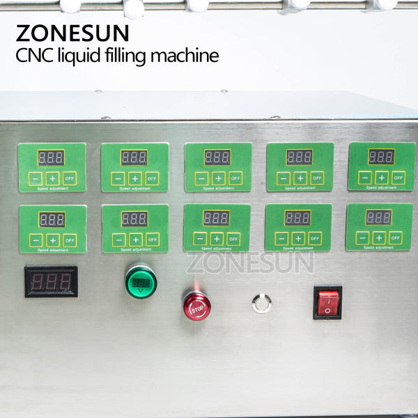 ZONESUN Electric Digital Control Pump Liquid Filling Machine 3-4000ml For Liquid Perfume Water Juice Essential Oil With 10 Heads - ZONESUN TECHNOLOGY LIMITED