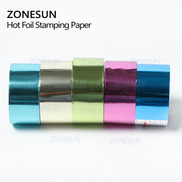 ZONESUN 5cm Gold Silver Red Rose Hot Stamping Foil Paper Transparent Color width/Roll Customized Size DTY Brass Mold Foil 120m - ZONESUN TECHNOLOGY LIMITED