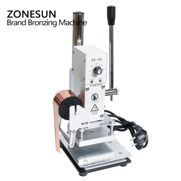 ZONESUN 1PC 110V/220V Manual Hot Foil Stamping Marking Machine Leather PVC Printer With Temperature Control - ZONESUN TECHNOLOGY LIMITED