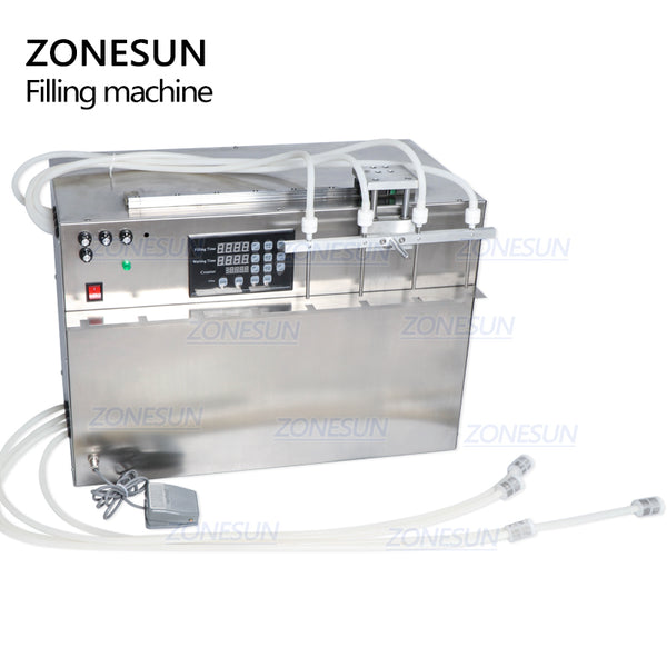 ZONESUN 4 Heads Stand-up Beverage  Bag Spout Pouch Liquid Filling Machine For Juice Water Milk - ZONESUN TECHNOLOGY LIMITED
