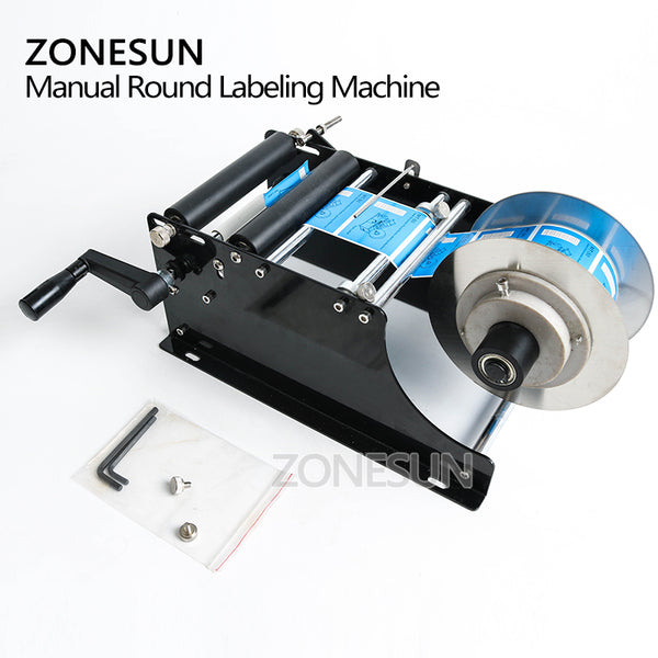 ZONESUN Simple Manual Handy Round Wine Bottle Adhesive Sticker Label Applicator For PET Plastic Bottle Packing Labeling Machine - ZONESUN TECHNOLOGY LIMITED