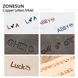 ZONESUN 6mm Height Brass Letter Stamp Custom Initials Alphabet For Foil Stamping Leather - ZONESUN TECHNOLOGY LIMITED
