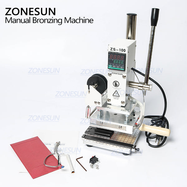 ZONESUN ZS-100 New Embossing Manual Hot Foil Stamping Machine For Leather Paper Wood With Measure Line Letters Hot Foil Stamping Machine - ZONESUN TECHNOLOGY LIMITED