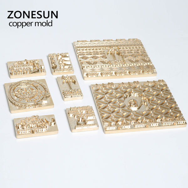 ZONESUN Custom Logo Brass Copper Stamping Machine Mold Leather Hot Foil Stamp Mold Die Cut Emboss Mold - ZONESUN TECHNOLOGY LIMITED