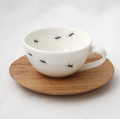 Ant white espresso Cup with wooden Saucer