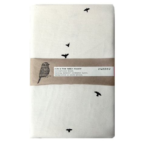 White cotton table runner with bird print