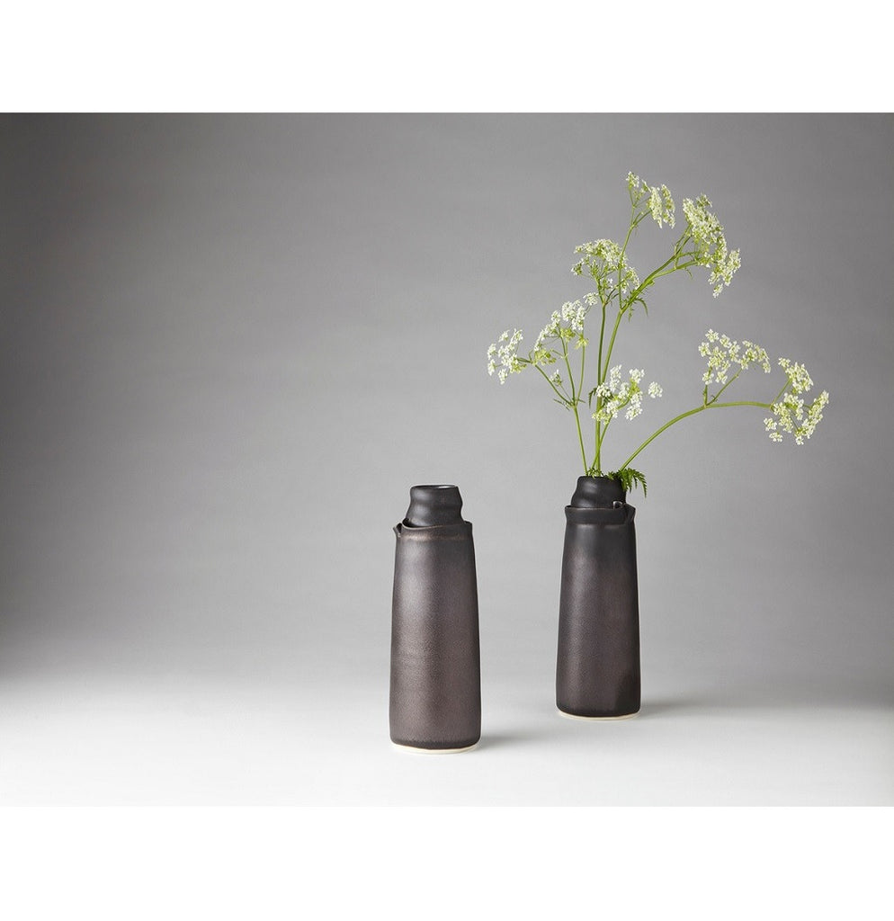 Black decorative flower vase