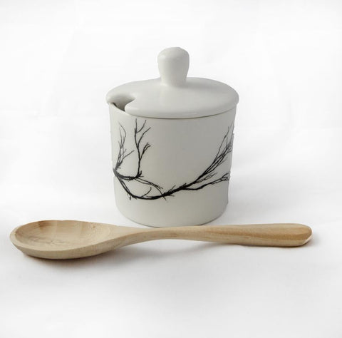 white sugar pot with branch print