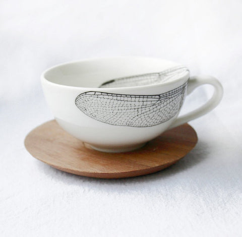 White Espresso cup with Dragonfly Print & wooden Saucer