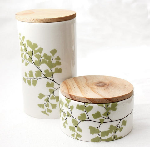 White storage jar set with wooden lid