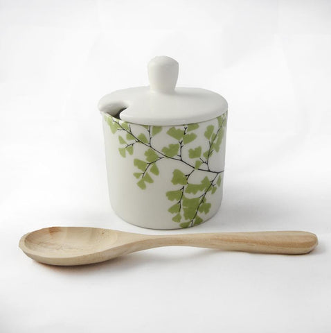 white sugar pot with fern print