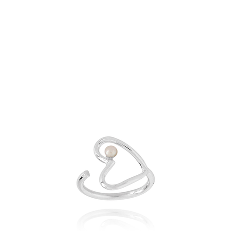 Heart silver ring with freshwater pearl