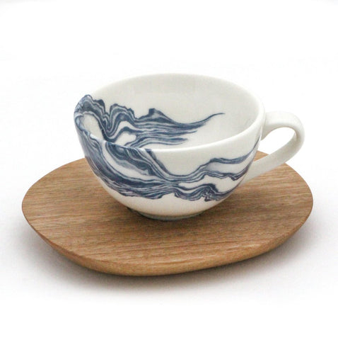 White espresso Cup with Mineral print and Wooden Saucer