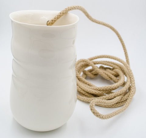 White large porcelain hanging vase with rope