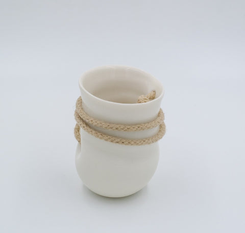 White mini hanging porcelain vase with rope