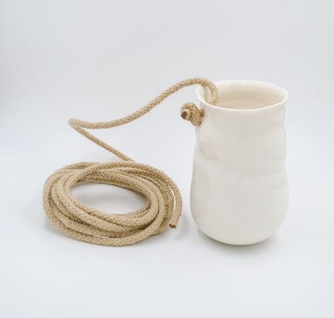 White small porcelain hanging vase with rope