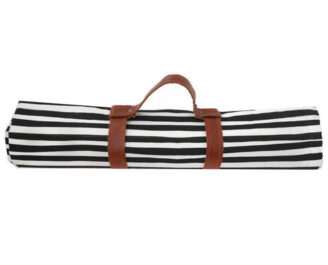 Stripe picnic blanket with leather straps