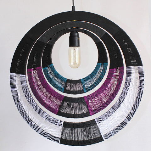 Woven Necklace Pendant Light - Purple