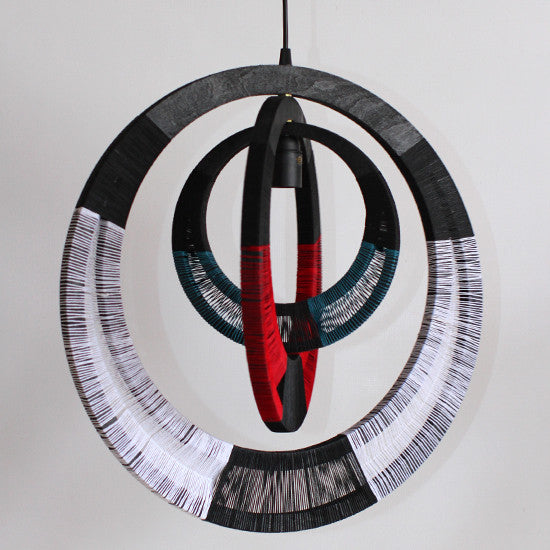 Woven Necklace Pendant Light - Red