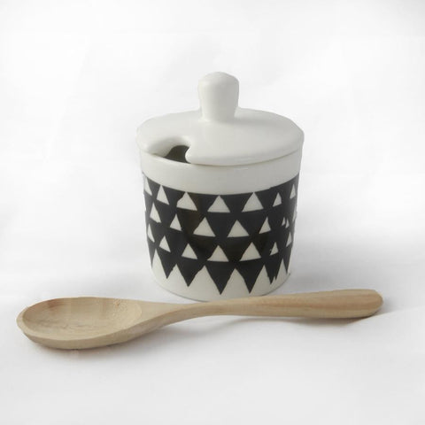 white sugar pot with black triangle print