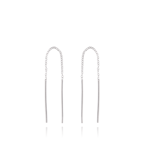 Mel - Olivia Silver Chain Chopsticks Earrings