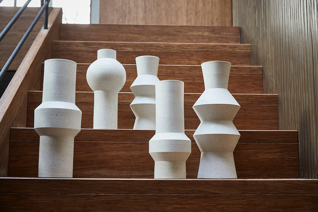HK Living | White Speckled Clay Vase Straight L | House of Orange Melbourne