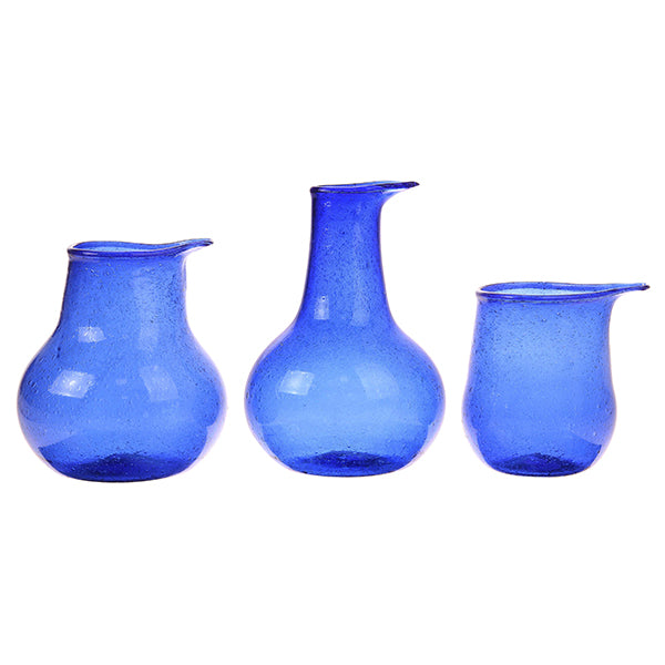 Recycled Glass Vases Cobalt (set of 3)