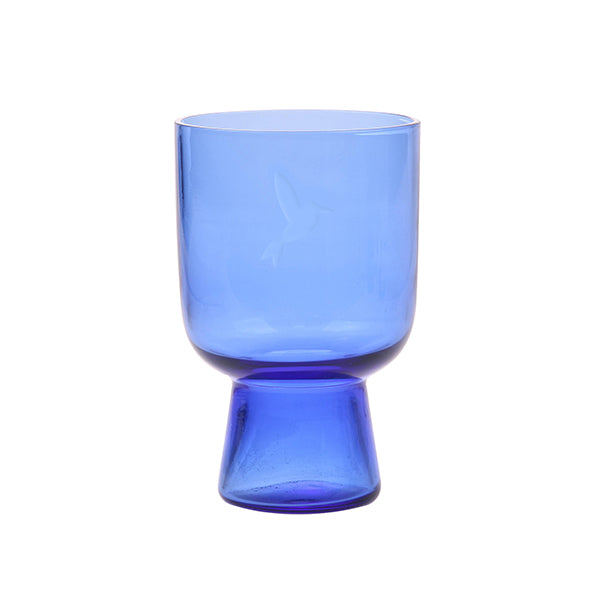 Blue Glass Large Engraved
