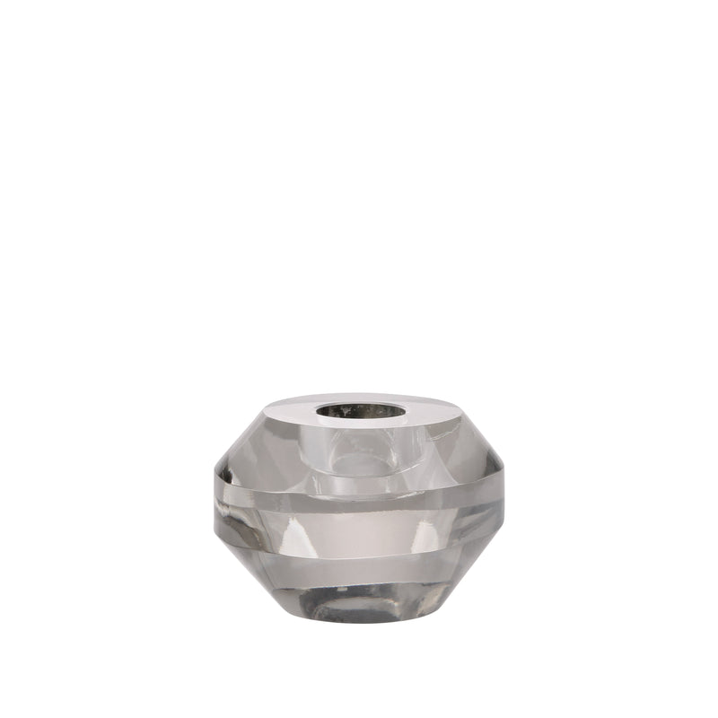 Crystal Glass Candle Holder Grey Round