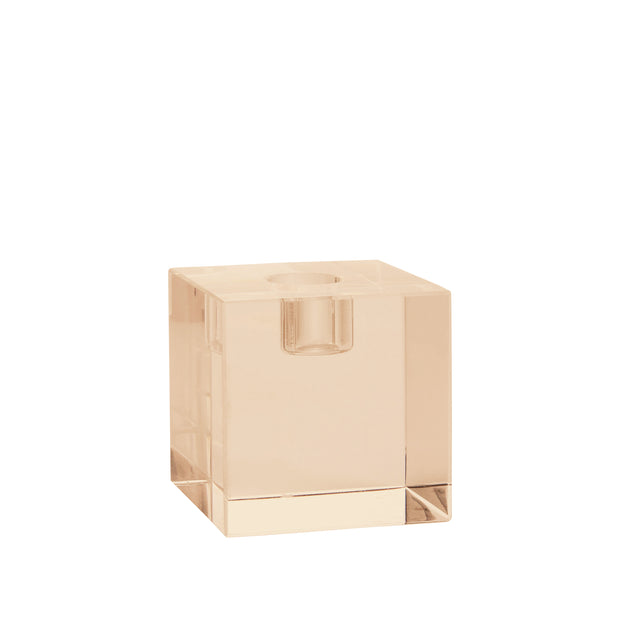 HK Living | Crystal Glass Candle Holder Amber Cube | House of Orange Melbourne