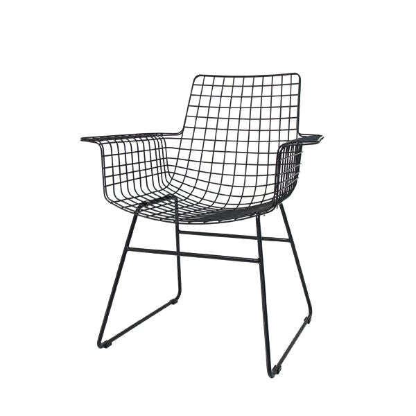 Metal Wire Chair w/Arms Black