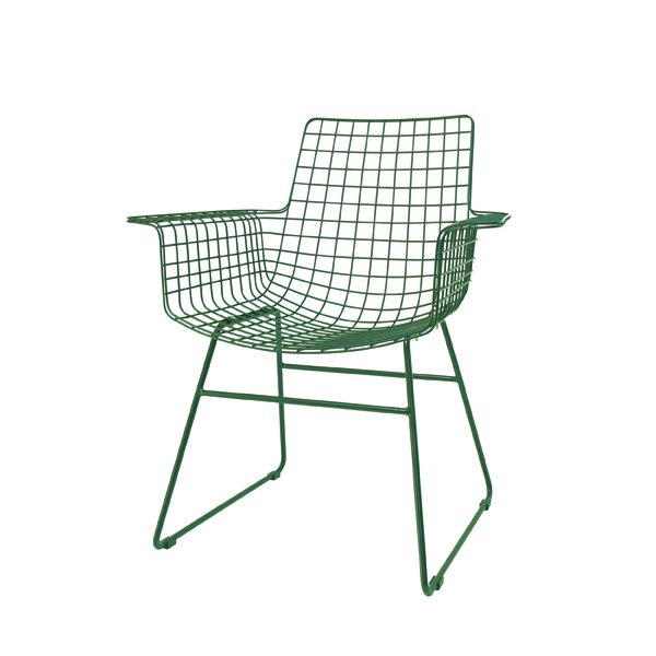 HK Old | Metal Wire Chair w/arms Emerald | House of Orange Melbourne