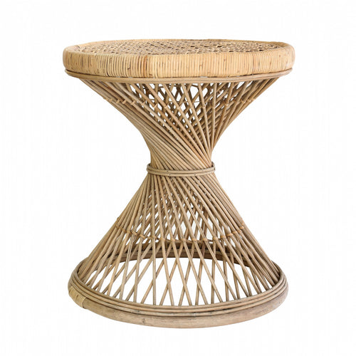 Rattan peacock side table
